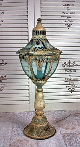 Tafellamp met antieke afwerking van Deurs Danmark turquoise crème shabby chic