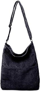 Ulisty Damen Cord Grosse Kapazität Schultertasche Lässige Handtasche Mode Einkaufstasche Umhängetasche schwarz