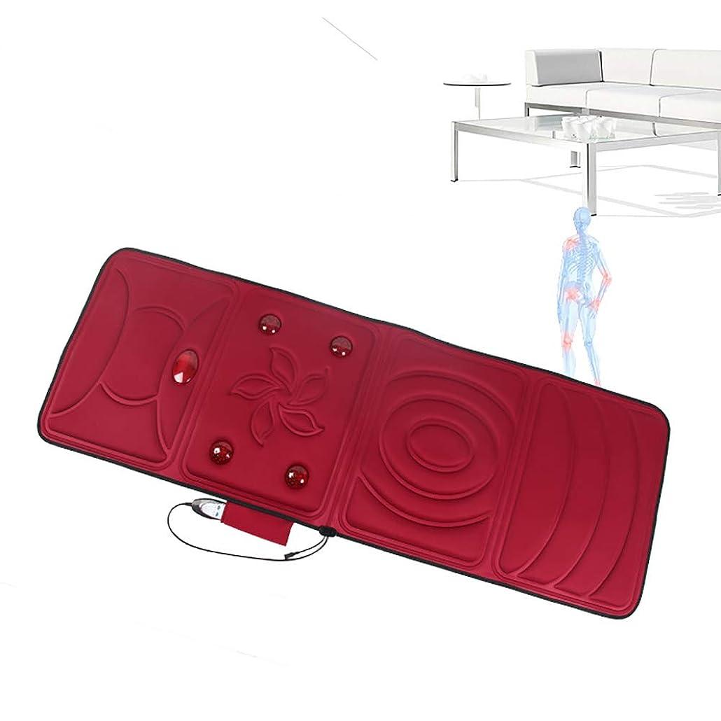 とげのある言い換えると繊細全身加熱マッサージマットレスマットレス暖房パッドフラットバック熱療法マッサージフロアチェアまたはベッドシンプルRemoteElectricマッサージマットレスホームシンプル折りたたみ式デザイン,赤