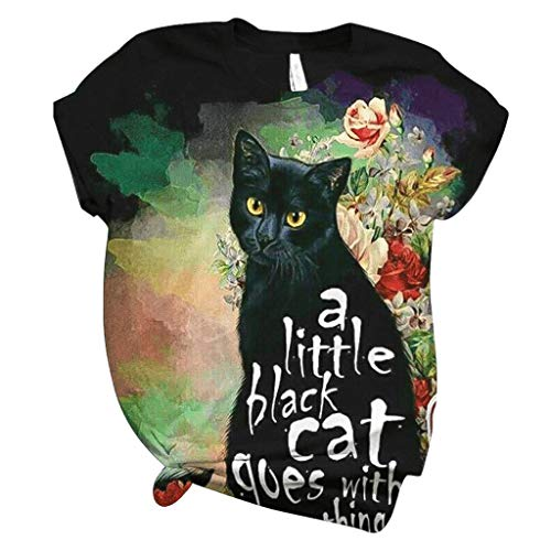 Camiseta de Mujer 3D Animal Print Cotton Casual Lovely Cat Graphic tee Manga Corta Summer O-Neck Blusa Tops