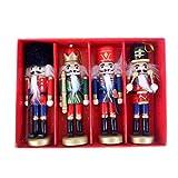 KunmniZ 4pcs madera cascanueces títere nueces soldado muñeca colgante decoración Navidad
