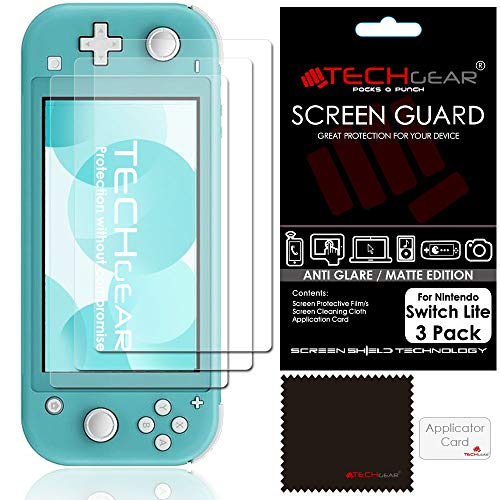 Switch Lite Protection Écran Anti-Reflet Mat [Pack of 3] TECHGEAR Film de Protection Écran Anti Reflet / Mat Compatible avec Nintendo Switch Lite