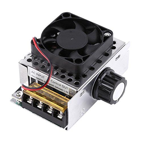 AC 220 V 4000 W SCR Regulador de voltaje eléctrico con ventilador de refrigeración, regulador de velocidad de motor de temperatura de regulación.