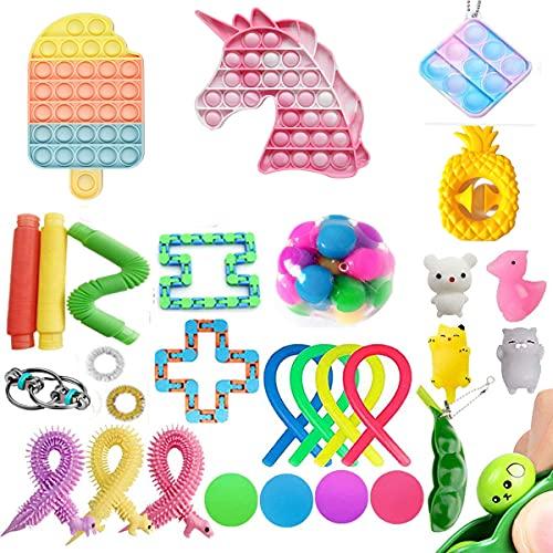 Juego de juguetes sensoriales, juego de juguetes fidget baratos que alivia la ansiedad del estrés para niños y adultos, paquete de Fidget con hoyuelos simples (juego)
