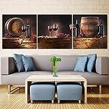 Toile Peinture Mur Art Image 3 Pcs Vente Chaude Moderne Peinture Murale Estampes Vin Rouge Art Photo Moderne Peinture sur Toile, 60 cm * 60 cm * 3