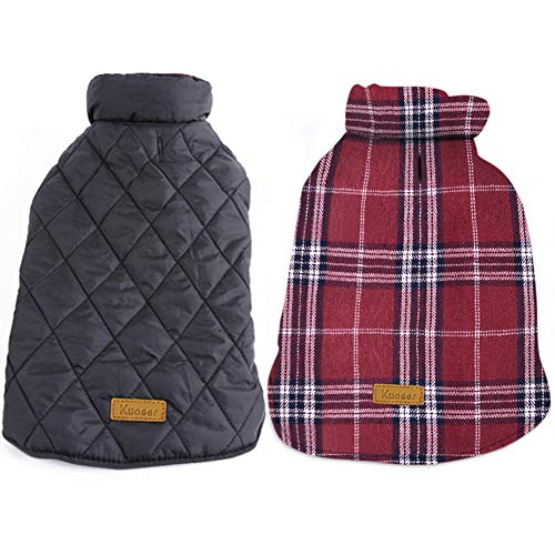 Kuoser Cozy Waterproof Windproof Reversible British style Plaid Dog Vest Winter Coat...