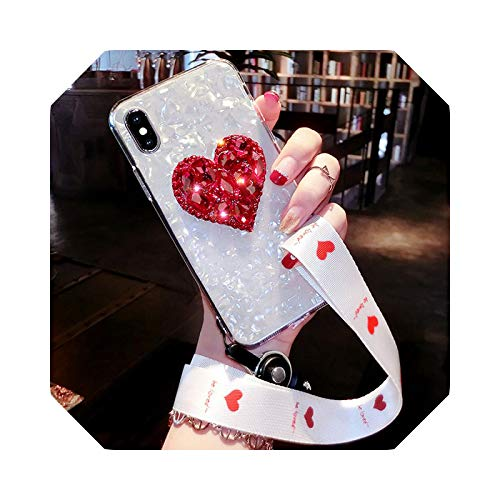 Carcasa para iPhone 12 Mini 11 Pro Max 8 7 6S 6 Plus X XS Max XR se 2020 Cases Diamond Cover for iPhone 11 Pro with Strap-Small Heart-for iPhone XR