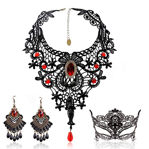 Black Lace Necklace and Earrings Set, Gothic