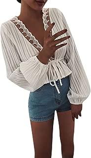 Women Long Sleeve Shirts Sexy Deep V Neck Lace Bandage Tops for Club Casual Loose Fashion Blouse Daorokanduhp