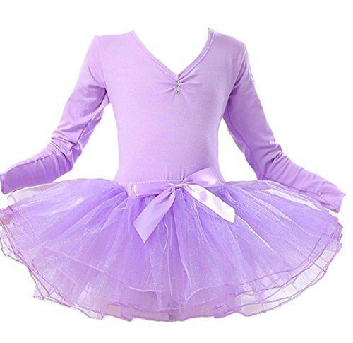 HUOFEINIAO-Tanzkleidung Kindertanzkostüme Übungskleidung für Mädchen Herbst- und Sommerkostüme Langärmeliger Kinder Tutus aus Baumwolle, 160cm, Purple 1