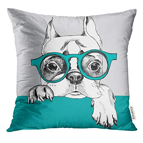 Emvency Throw Pillow Cover Dog with Portrait of French Bulldog in Glasses Pet Decorative Pillow Case Home Decor Square 18x18 Inches Pillowcase