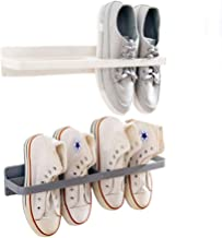 INDIAN DECOR. 28929 White Shoes Rack Organizer Mounted Wall Storage Shelf Shoe Holder Keeps Any Shoes Off The Floor (Simple-Set of 2)