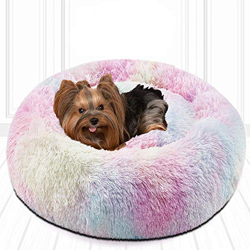 Friends Forever Donut Cat Bed, Faux Fur Dog Beds for Medium Small Dogs - Self Warming Indoor Round Pillow Cuddler, Small, Rainbow