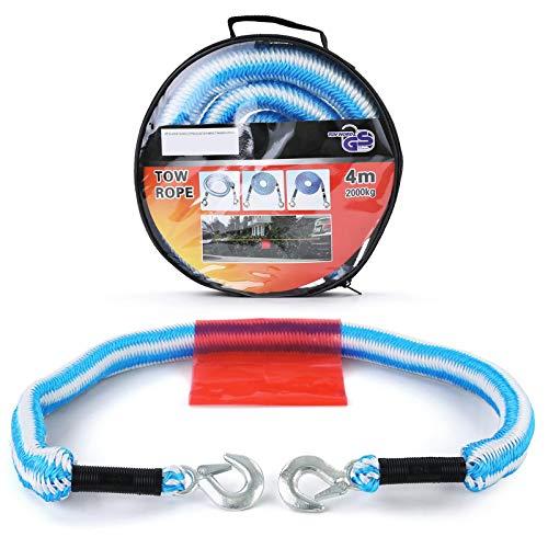 Carparts-Online 19698 KFZ Sicherheits Abschleppseil elastisch 4M bis 2T Pannenhilfe blau