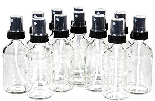Vivaplex, 12, Clear, 1 oz Glass Bottles, with Black Fine Mist Sprayers