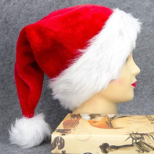 Bonita Gorra navidea Gruesa y clida de Felpa Pap Noel, Sombrero de Disfraces, Sombreros navideos adecuados para Adultos, decoracin para nios-Adult