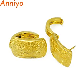 Fasmodel-Arabian Earrings for Women's, Gold Color Dubai Earring Stud for Girl,Metal Jewelry African Gifts #038406