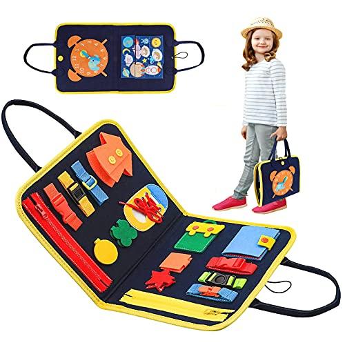 LQKYWNA Busy Board Montessori, Giocattoli Educativi Busy Board, Educational Giocattolo Occupato per Bambini tra 1 E 6 Anni, Abilità Base di Vita Toy per Apprendimento Precoce Giochi Montessori
