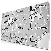 マウスパッド 大型 ゲーミング デスクマット 手描き カフェ タオル 本 英文柄 グラス 簡潔 かわいい 防水性 耐久性 滑り止め 多機能 超大判 40cm×75cm