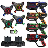 ArmoGear Rechargeable Laser Tag | Laser Tag Guns & Vests Set of 4 with Digital LED Score Display Vests | Lazer Tag Gift Toy for Teen Kids | Indoor & Outdoor Play Toy for Boys & Girls | Ages 8-12 +