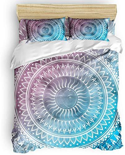 Juego de Funda nórdica, 3 Piezas Boho Mandala Sun Ombre Blue Purple Juego de Cama - 1 Funda de edredón 2 Fundas de Almohada para niños/niños/Adolescentes/Adultos