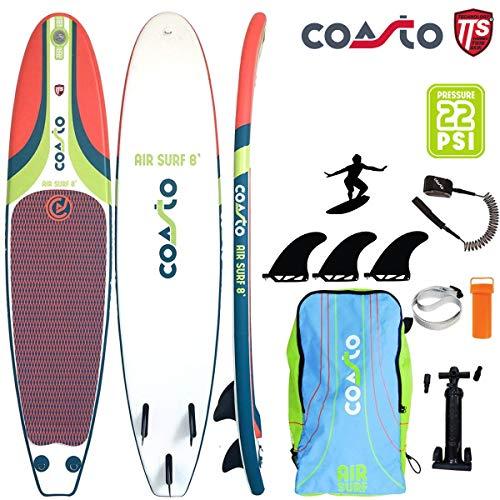 COASTO Air Surf 8' Inflatable Surfboard Wellenreiten US-Finnen 244x57x8cm