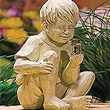 LoveLeiter Gartenfigur Ornament Solar Leuchte Dekorative Licht Romantik Skulptur Dekor Dekofigur Ornamente Junge und Mädchen Statue aus Steinguss Gartendekoration für Landschaftsrasen Terrasse Rasen