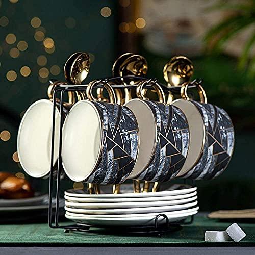 FGDSA Porcelain Tea Set Afternoon Tea Sets with Coffee Cup and Saucer Set, Ceramic Afternoon Tea, Tea Set, Household Black Tea Cup and Cup Set