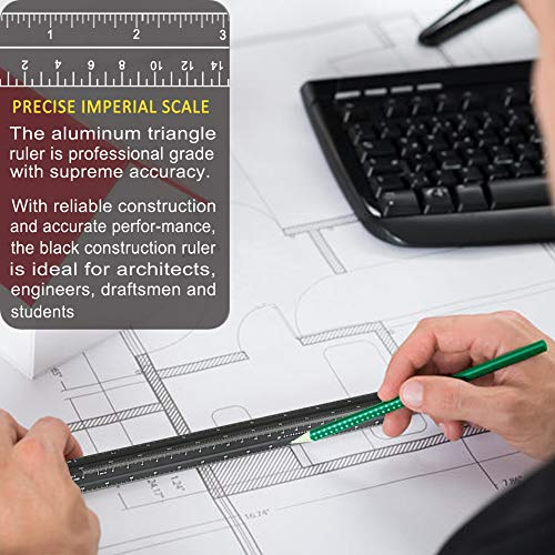 """Architectural Scale Ruler, 12"""" Aluminum Architect Scale, Triangular Scale, Scale Ruler for Blueprint, Triangle Ruler, Drafting Ruler, Architect Ruler, Metal Scale Ruler, Architecture Ruler Photo #4"""