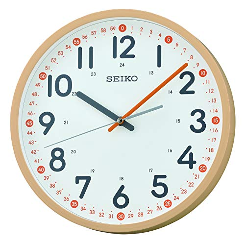Seiko Plastic Wall Clock (30.5 cm x 30.5 cm x 4.8 cm, Light Brown)
