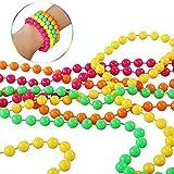 14Pcs 80er Party Kleid Zubehör Mottoparty kostüm 80 Jahre Kostüm Zubehör Set mit Damen Regenbogen Tutu Rock Damen Neon Halsketten Mehrfarbig Perlenkette für 1980 Party kostüm Damen Set - 6