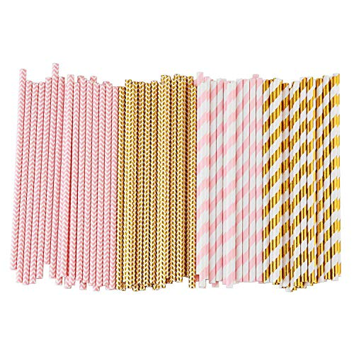 Gesh Biodegradable Paper Straws, 100 Pink For Party Supplies, Birthday, Wedding, Bridal/Baby Shower Decorations And Holiday Celebrations