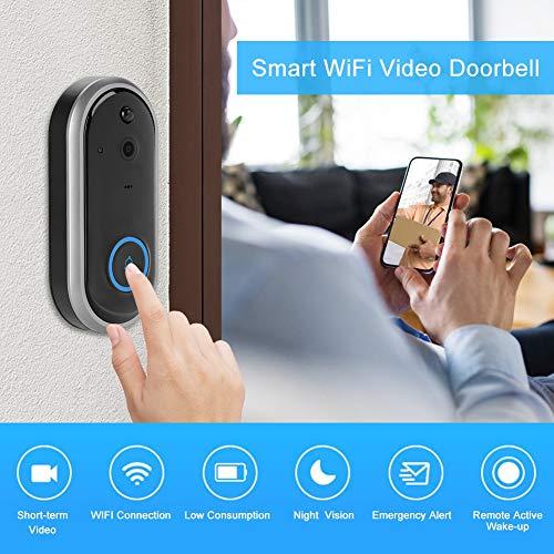 Video Türklingel, Smart WiFi Wireless Security Intercom Sichtbare Türsprechanlage & Glockenspiel Türklingel Viewer Entry Access System Kit für Home Apartment(EU-Schwarz)