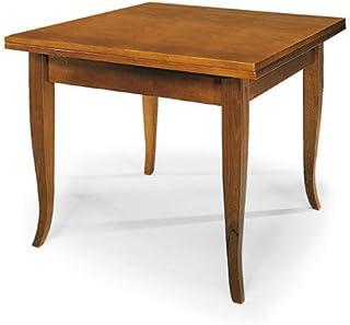 Table Extensible à Rabat, Style Classique, en Bois Massif et MDF avec Finition Noyer Brillant - Dim. 90 x 90 x 78