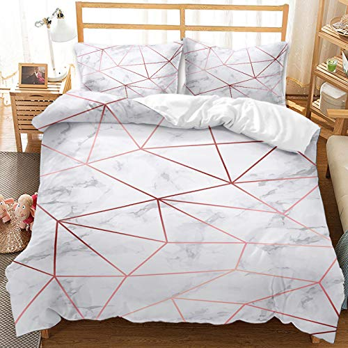 QXbecky Art Flower Marble Texture Bedding Soft Microfiber Quilt Cover Pillow Cover 2, 3 Piece Set Twin Bed