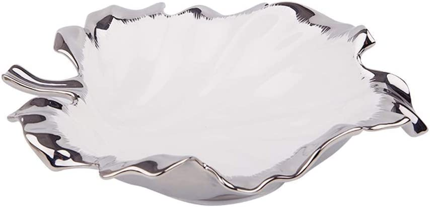ZHFRC White Silver Jacksonville Mall Plated Ceramic Plate Coffe Max 69% OFF Fruit Room Living