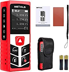 Area and Volume-Red POPOMAN Laser Measure,Lithium Battery with USB Charging,196Ft Laser Distance Meters M//In//Ft with Electronic Angle Sensor,Pythagorean Mode,Measure Distance