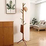 JIIKOOAI Perchero de pie en forma de árbol, de madera maciza, con 8 ganchos y base de 3 patas, para la entrada, sala de estar, dormitorio