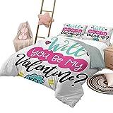 Juego de cama de edredón, colcha de cotización, funda de cama para toda la temporada, ¿serás mi San Valentín? Pregunta y respuesta positiva Corazones alegres, tamaño completo, turquesa, rosa y negro