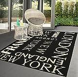 Mistra - Alfombra para interiores y exteriores, diseño moderno, colores modernos, superplana, resistente a los rayos UV y a las inclemencias del tiempo, Londres, Nueva York, color negro, 120 x 170 cm