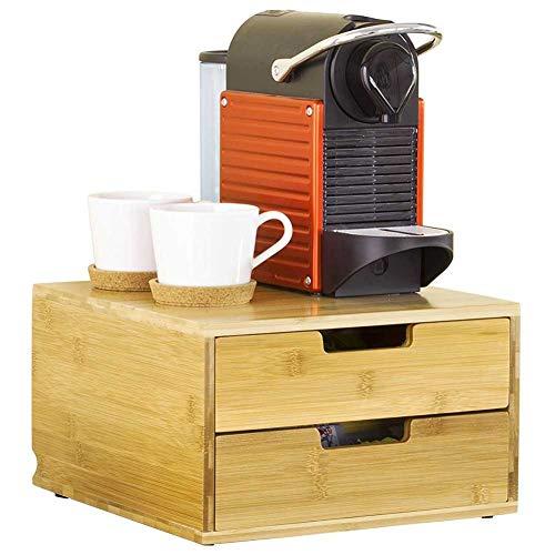Contenitore Porta Capsule Cialde Caffè Con Due Cassetti Organizer Porta Oggetti In Legno Bambù Porta Bustine Thè Tisane Zucchero 31 x 30 x 18 cm