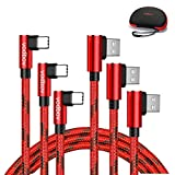 vodbov 3Pack USB c red braiding Data Sync (4ft 6ft 10ft) Type c Cable USB 90 Degree Fast Charging Right Angle for Samsung Galaxy S20 S10E Note10,LG G8 G7 V20 G6 G5,GpPro Hero 7 6 5 (RED) + Hand Case