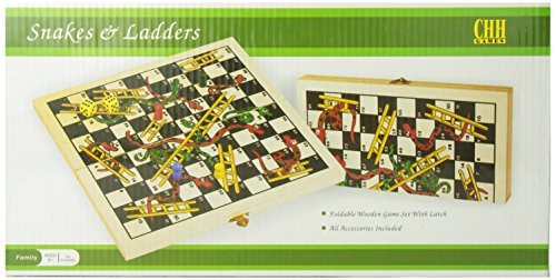 CHH Recreational Wooden Snakes & Ladders Folding Game with Pair of Dice by Games