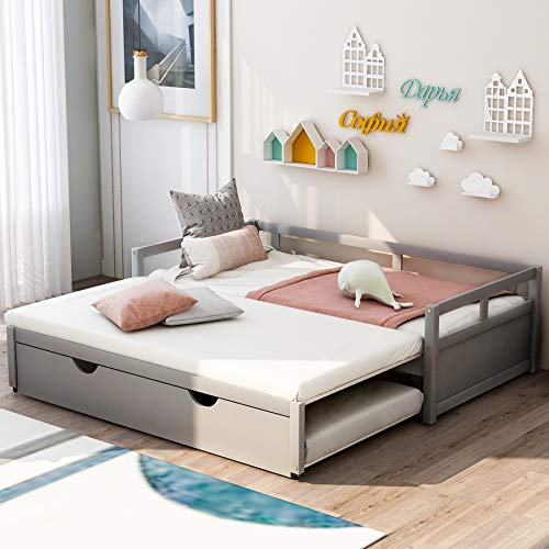 P PURLOVE Wood Extending Daybed with Trundle Bed Wood Daybed Frame, Gray