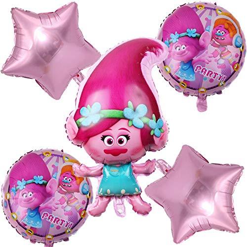 BAYUE Cumpleaños Boda 5pcs / Conjunto de Dibujos Animados Trolls Hoja hincha del Partido de los niños Cabritos de la decoración de la Estrella de Helio del Impulso del Aire Globos Inflables