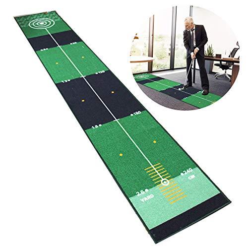 Qdreclod Golfmatte Puttingmatte Golf Indoor Büro Outdoor für zu Hause Büro Golf Übungsmatte Golf Puttingmatten Golf Putting Trainer Matte 3 * 0.5 M Golfübungsgeräte