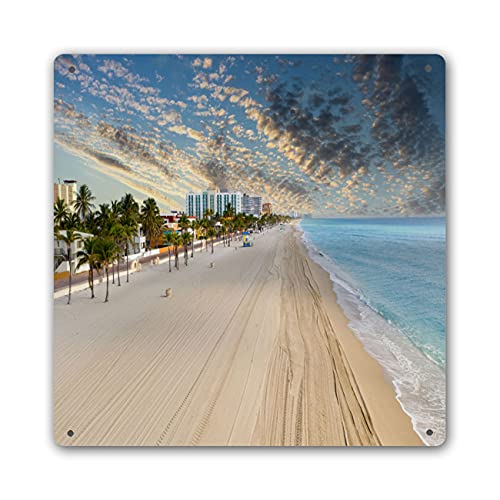 BEIVIVI Beach Home Metal Tin Sign Home Wall Decor Aerial Photo Hollywood Beach No People Stay at Home Coronavirus Covid 19 Pandemic 2020 Modern Artwork Funny Signs Bar Accessories and Decor 12x12 in