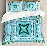 JamirtyRoy1 Kaleidoscope Duvet Cover Set Double Size, Star Inside Square Shaped Kaleidoscope Tie Dye Effect Print Outer Figures Image, Decorative 3 Piece Bedding Set with 2 Pillow Shams, Teal Blue