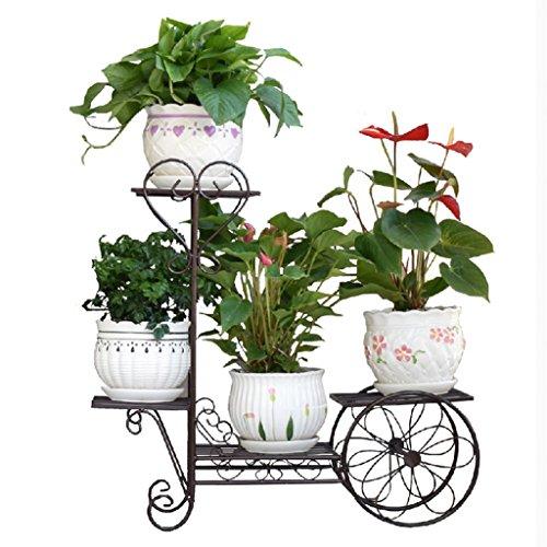Fu Man Li Trading Company Porte-fleurs étagère européenne étagère à plusieurs étages balançoire bois vert salon salon étagère à fleurs A+ (Couleur : Noir)