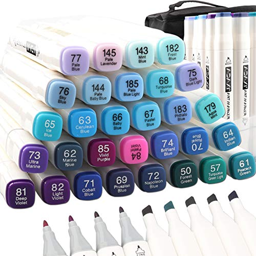 ADAXI 30 Colors Blue Tone Art Marker Pen Double-Ended Sketch Markers Alcohol Based Markers, Permanent Artist Markers Pen for Art Creation Design Portrait Illustration Sketching Drawing Coloring